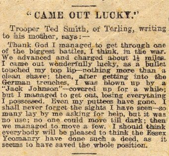 Newspaper cutting 'Came out Lucky'